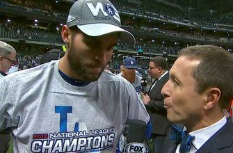 Chris Taylor talks with Ken Rosenthal after helping win Game 7 of the NLCS