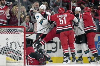 Svechnikov, Mrazek lead Canes past Sharks 3-2 in shootout
