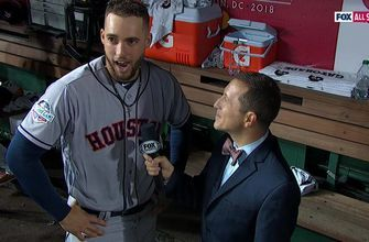 George Springer talks to Ken Rosenthal after helping lead the AL to a sixth straight MLB All-Star Game victory