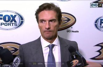 Dallas Eakins reacts to Ducks 2-1 loss to Flames