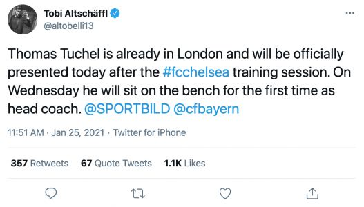 Thomas Tuchel already in London and to be presented as Chelsea boss after training session per Bild journalist