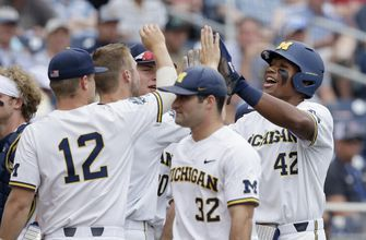 Michigan beats Texas Tech 5-3 in its 1st CWS game since 1984