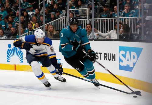 Blues move to brink of Cup final with 5-0 win over Sharks