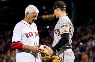 Carl Yastrzemski throws out first pitch in Fenway Park to grandson Mike Yastrzemski