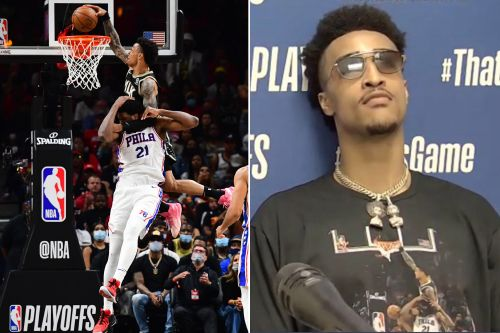 John Collins trolls Joel Embiid with shirt of wild dunk after 76ers' collapse