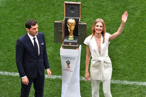 World Cup trophy displayed at Moscow's Luzhniki as ceremony begins