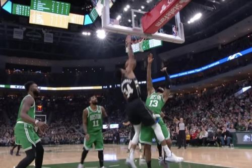 Watch: Giannis Antetokounmpo discards Kyrie Irving, jams on three Celtics