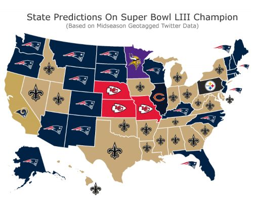 Twitter map shows each state's midseason pick for SB LIII champion
