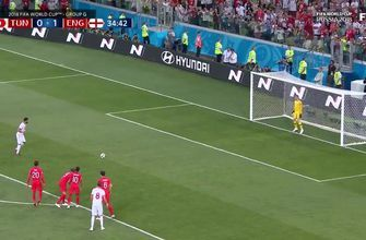 Sassi converts the penalty to draw Tunisia even with England
