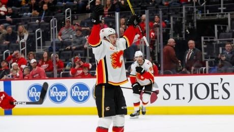Mangiapane's 2 goals helps Flames double up reeling Red Wings