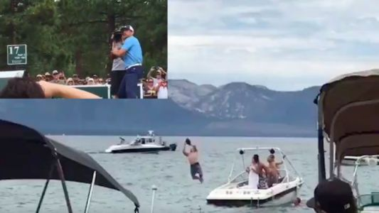 WATCH: Aaron Rodgers throws laser from Lake Tahoe 17th tee box to man jumping off boat